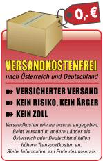 Versandkostenfrei nach Österreich und Deutschland